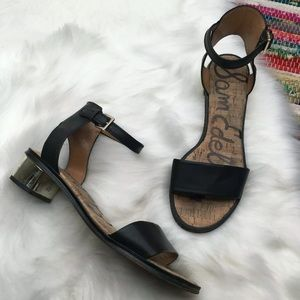 Sam Edelman Teri Strappy Sandals 8 Black Gold Heel